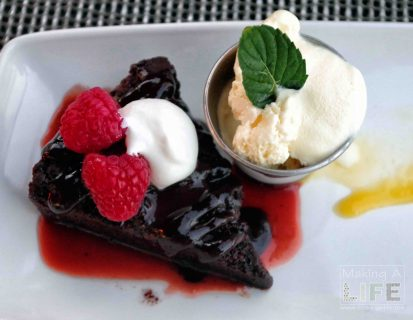 Flourless Chocolate Cake at Taris on the Water